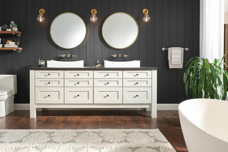 Lux Farmhouse Bathroom Cabinet Vanity | Springhill Kitchen & Bath | Custom, Budget, & Commercial Cabinetry | Gainesville, FL | Featuring Waypoint Living Spaces