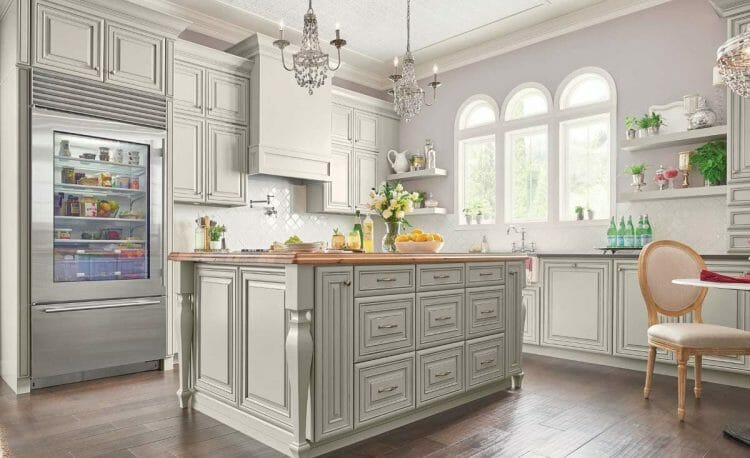 Traditional Painted Harbor French Country Farmhouse Kitchen | Springhill Kitchen & Bath | Custom, Budget, & Commercial Cabinetry | Gainesville, FL | Featuring Waypoint Living Spaces