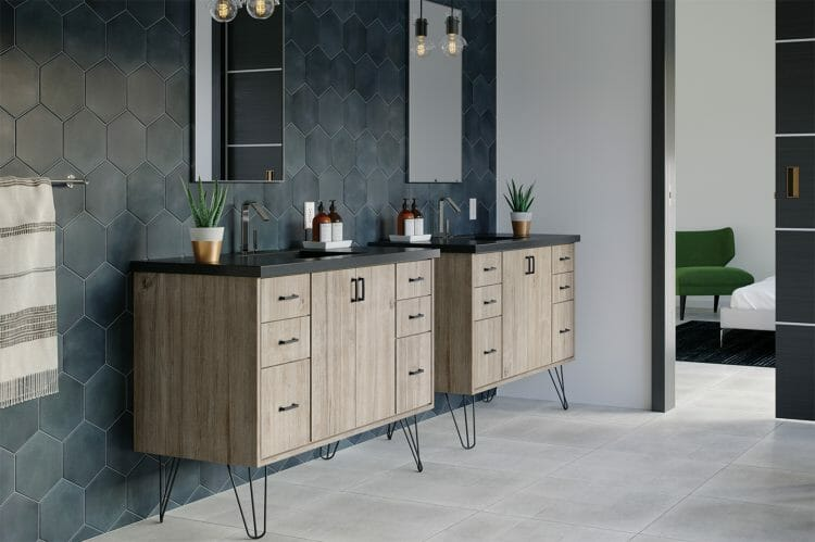 Currently Cool Modern Retro Wood Bathroom Vanity | Springhill Kitchen & Bath | Custom, Budget, & Commercial Cabinetry | Gainesville, FL | Featuring Waypoint Living Spaces