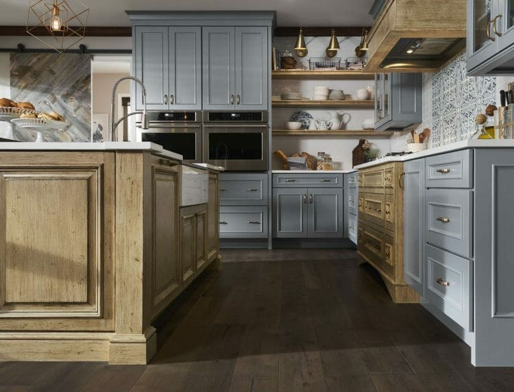 Traditional French Country Wood & French Blue Painted Kitchen | Springhill Kitchen & Bath | Custom, Budget, & Commercial Cabinetry | Gainesville, FL | Featuring Medallion Cabinetry