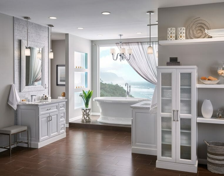 Classic White Bathroom Vanity | Modern Spa Bathroom Vanity - | Springhill Kitchen & Bath | Custom, Budget, & Commercial Cabinetry | Gainesville, FL | Featuring Medallion Cabinetry