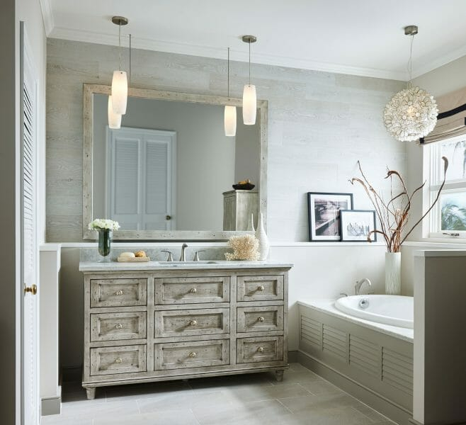 Modern Spa Bathroom Vanity - | Springhill Kitchen & Bath | Custom, Budget, & Commercial Cabinetry | Gainesville, FL | Featuring Medallion Cabinetry