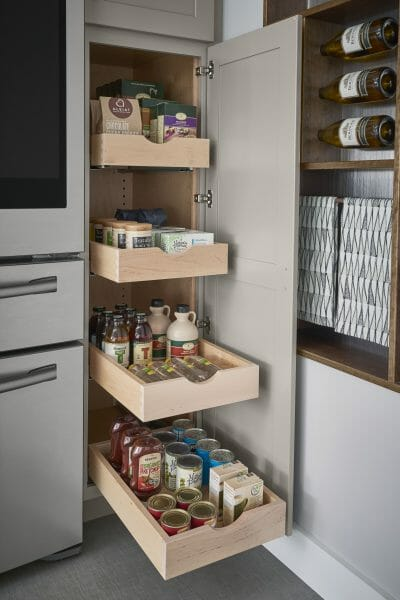 Pull-out Pantry Shelves | Springhill Kitchen & Bath | Custom, Budget, & Commercial Cabinetry | Gainesville, FL | Featuring Medallion Cabinetry