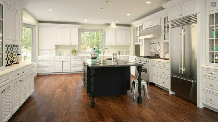 Gramercy Black & White Contemporary Island Kitchen | Springhill Kitchen & Bath | Custom, Budget, & Commercial Cabinetry | Gainesville, FL | Featuring Forevermark Cabinetry
