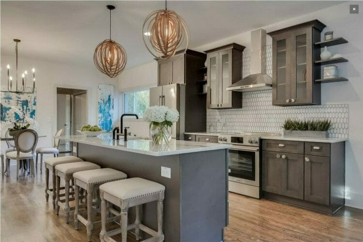 Greystone Shaker Contemporary Wood Finish Island Gally Kitchen | Springhill Kitchen & Bath | Custom, Budget, & Commercial Cabinetry | Gainesville, FL | Featuring Forevermark Cabinetry