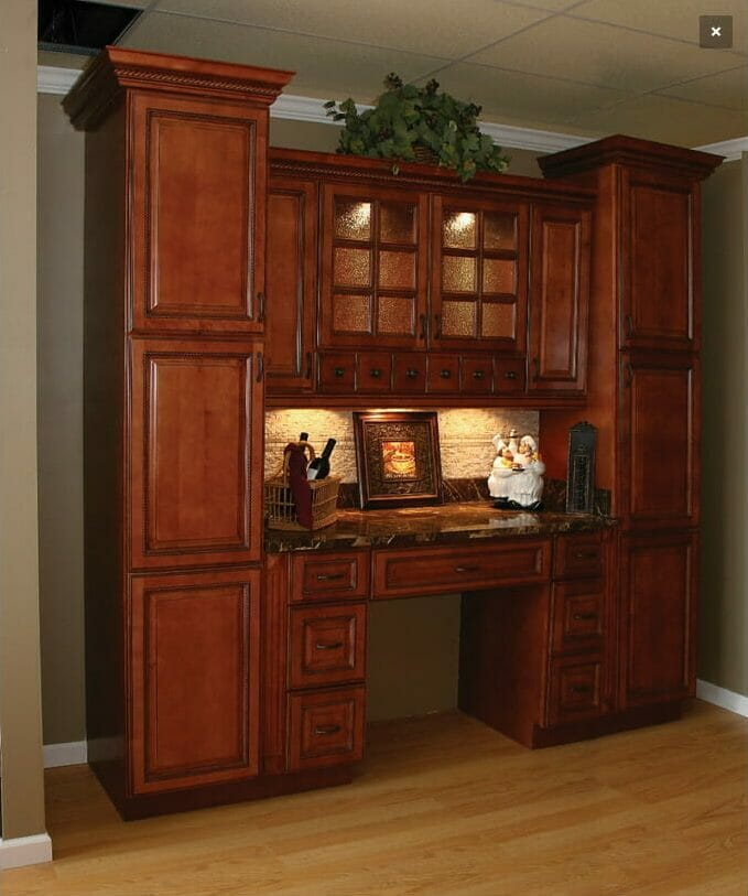 Sienna Rope Traditional Wood Finish Workstation | Springhill Kitchen & Bath | Custom, Budget, & Commercial Cabinetry | Gainesville, FL | Featuring Forevermark Cabinetry