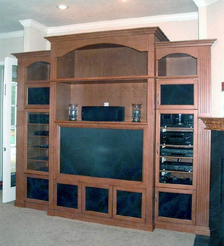 Traditional Wood Finish Entertainment Center - Built-in & Free-standing Cabinets | Springhill Kitchen & Bath | Custom, Budget, & Commercial Cabinetry | Gainesville, FL