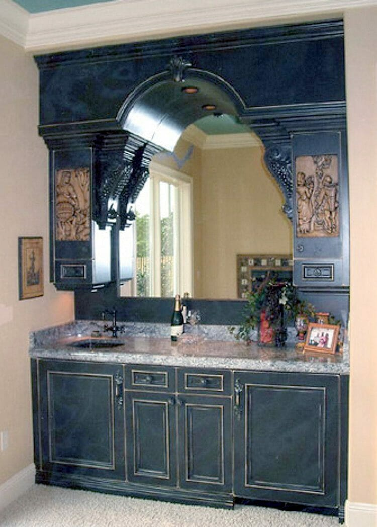 Elegant Built-in Ebony Wood Finish Bar - Built-in & Free-standing Cabinets | Springhill Kitchen & Bath | Custom, Budget, & Commercial Cabinetry | Gainesville, FL