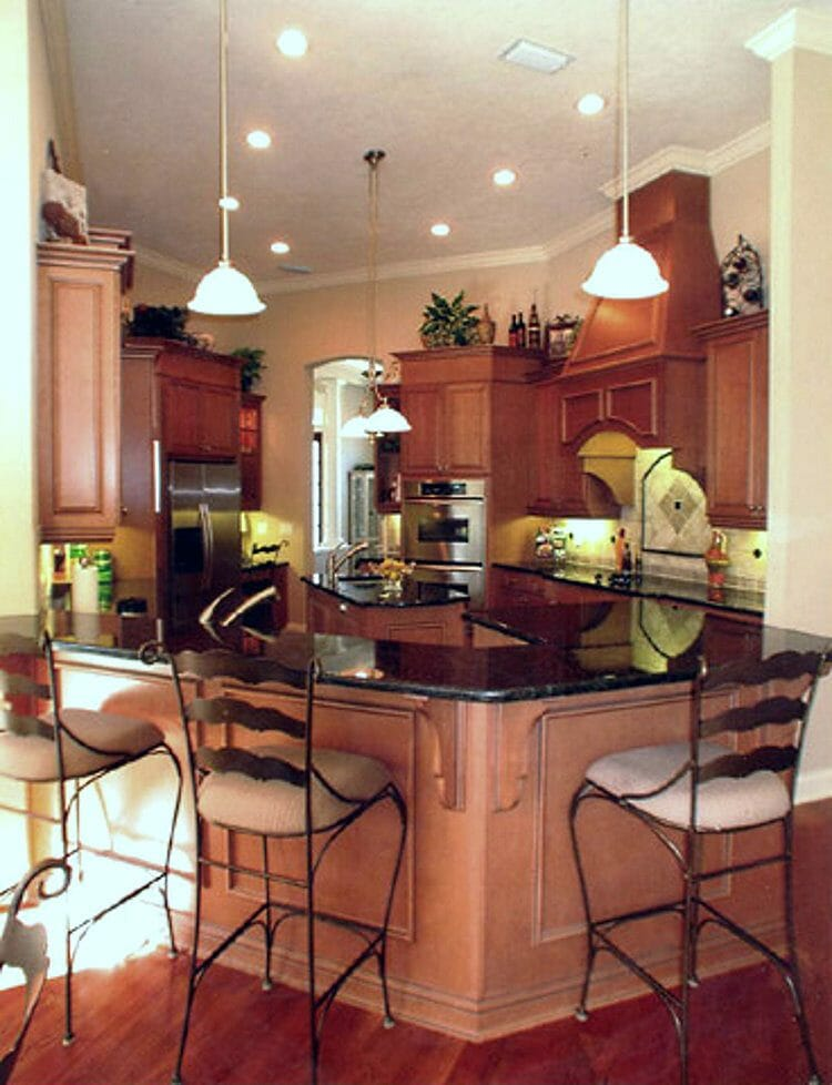 Traditional Wood Finish Island Kitchen | Springhill Kitchen & Bath | Custom, Budget, & Commercial Cabinetry | Gainesville, FL