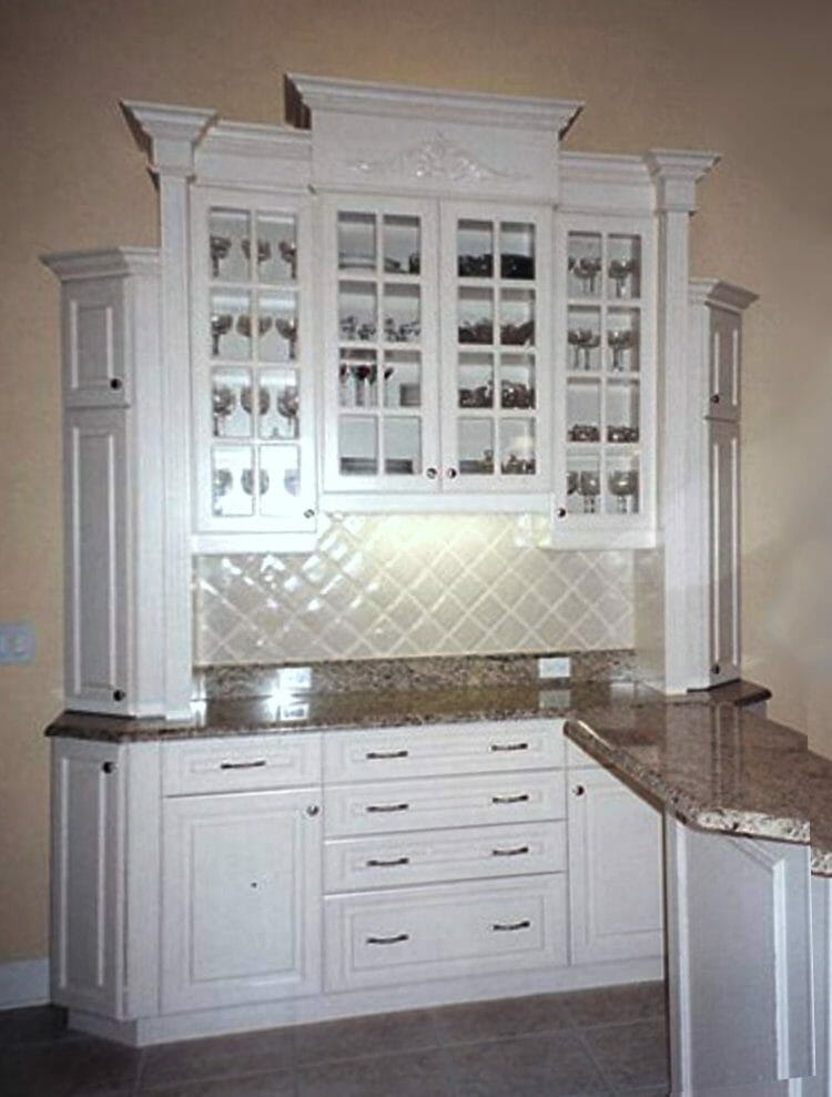 White Traditional China Cabinet - Built-in & Free-standing Cabinets | Springhill Kitchen & Bath | Custom, Budget, & Commercial Cabinetry | Gainesville, FL