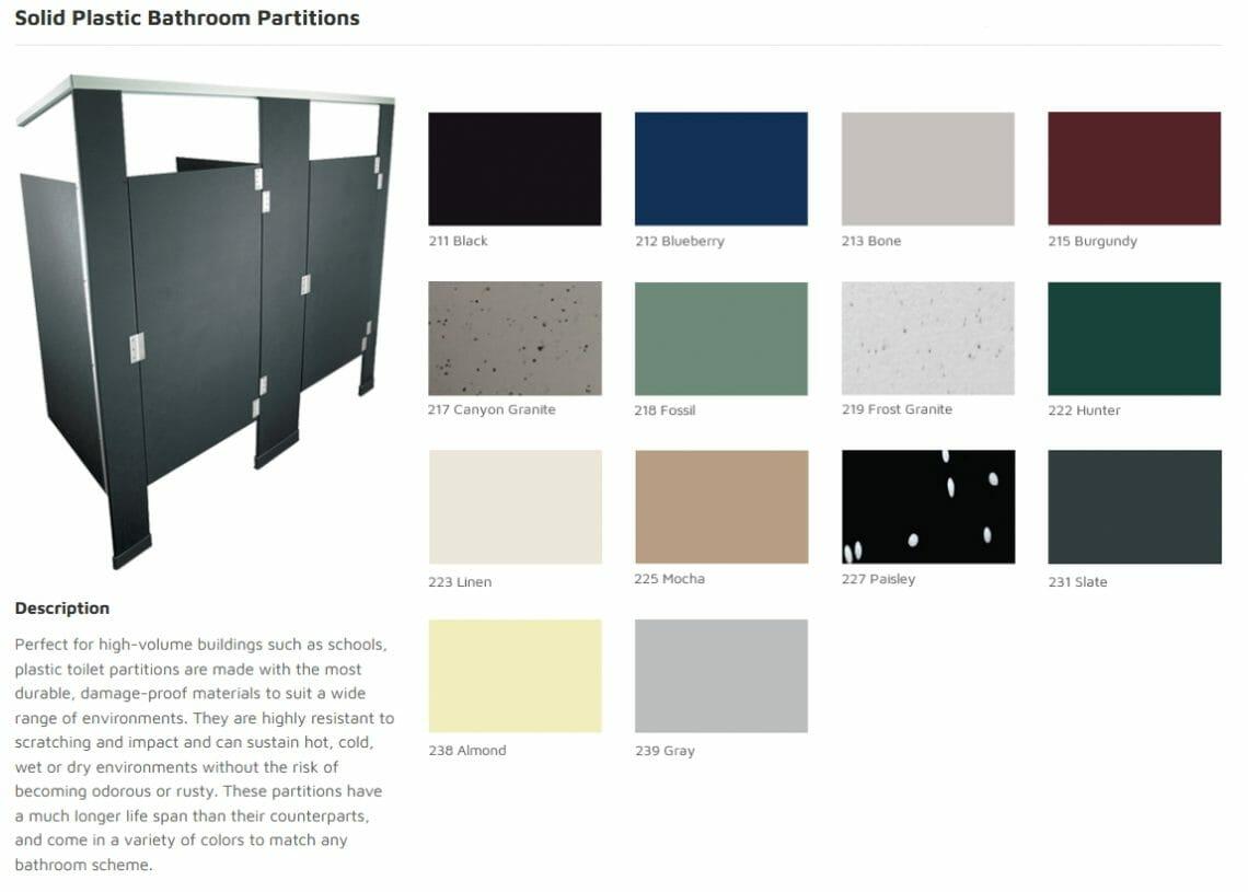 Solid Plastic Bathroom Partitions - Commercial Cabinet Design - Springhill Kitchen & Bath