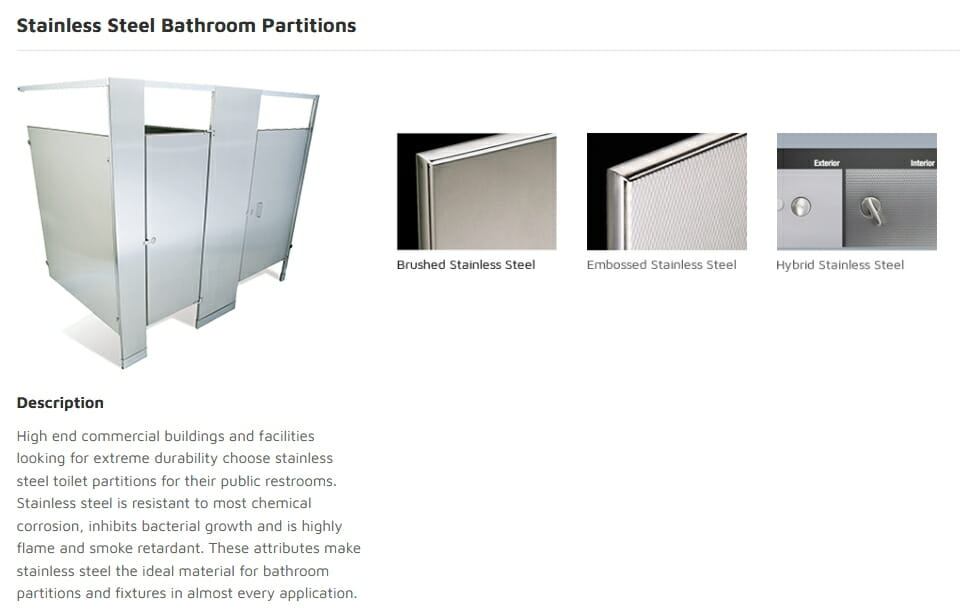 Stainless Steel Bathroom Partitions - Commercial Cabinet Design - Springhill Kitchen & Bath