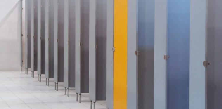 Toilet Stalls Gray w/Yellow Doors - Springhill Kitchen & Bath - Budget to Custom Commercial Cabinet Design & Installation - Gainesville, FL